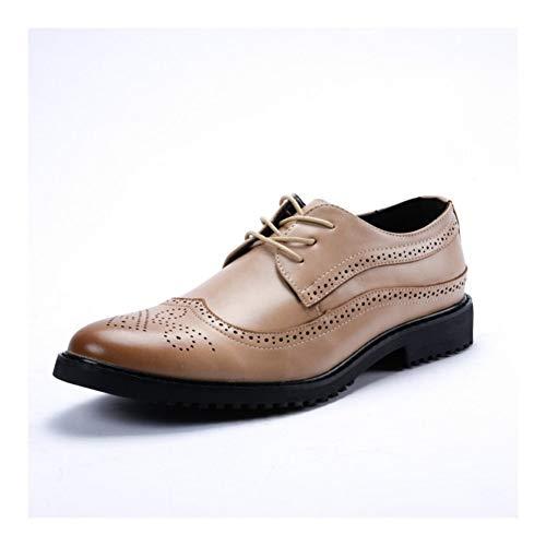 Best-choise Talla Acento Oxford Hombres Zapatos Formales de Encaje hasta Microfibra de Piel del Dedo del pie en Punta del Extremo del ala Burnished Estilo Lug Sole talón bajo Llamativo