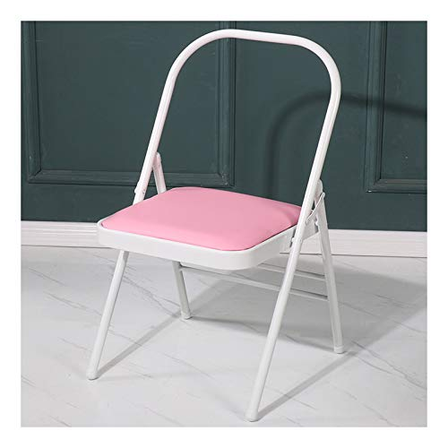 hyua Silla auxiliar de yoga para pilates, silla de yoga para Iyengar, accesorio para entrenamiento de flexibilidad y fuerza, multifuncional plegable portátil sin respaldo, rosa