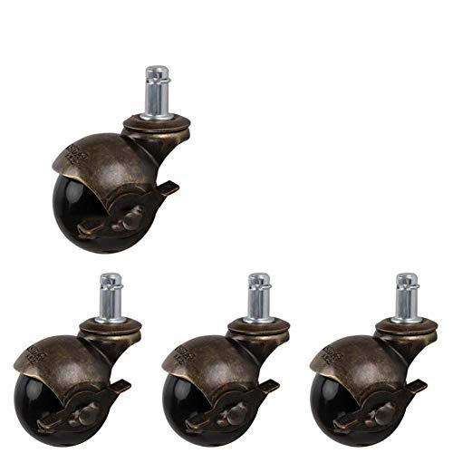 wieltjes 50mm Kantoorstoel Castor met 2 inch Wiel, Ø 11 mm, hark met rem Retro Sferische hark met rem Swivel Hooded Ball, Grip Ring Stem, 30Kg 66Lbs Laadcapaciteit, 4 Pack