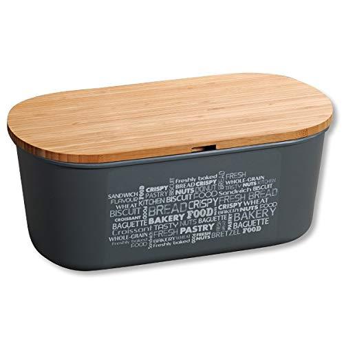 Kesper Brotbox mit Schneidebrett, Grau, Maße: B 34 x H 13 x T 18 cm, Bambus