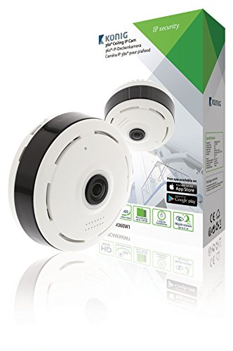 Konig HD IP CCTV Camera 1280x960 Plafond Gebouwd Panorama Wit/Zwart 360° Mobiele Smartphone Bekijken