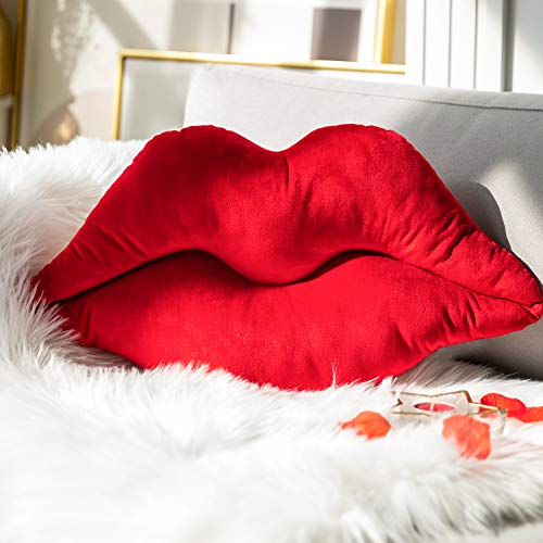 Ashler 3D Lips Throw Pillows Smooth Soft Velvet Insert Included Cushion for Couch Bed Living Room, New Red, 20 X 11 inches