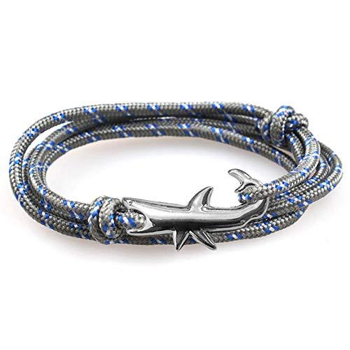 Wacemak1r - Pulsera ajustable de tiburón con múltiples capas de cuerda náutica regalo para hombres y mujeres
