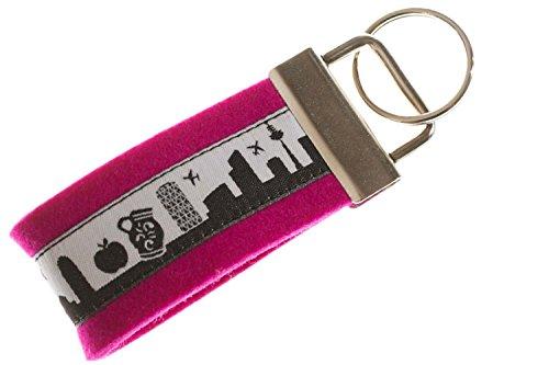 Frankfurt Schlüsselband Mini aus Filz in pink | Skyline Frankfurt in schwarz-Weiss | Geschenk für Damen und Herren | Filz 100% Wolle (Merinowolle)