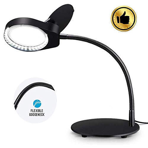 CoCocina 3-6X 100mm Neck Hung Hard Resin Lens LED Light Magnifier Magnifying Glass Loupe