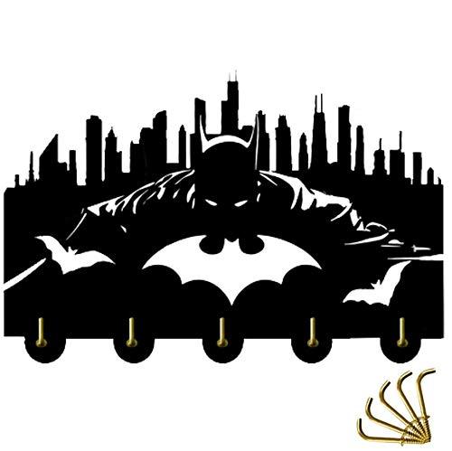 Batman Wall Door Hooks 5LB(Max) Quality Black Wood Made -Light in Weight-Easy to Install -Five Metal Hooks (Batman 2)