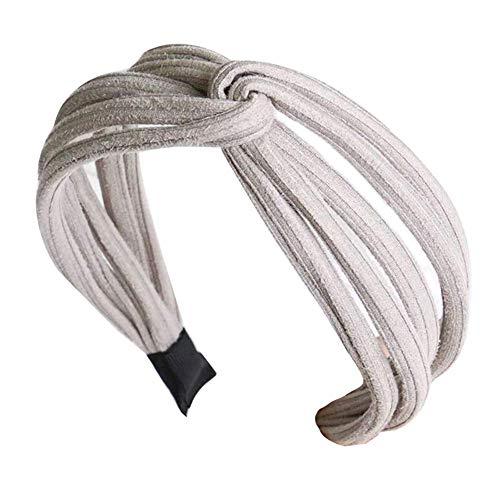 Vrouwen Twist Hoofdband Boog Knoop Cross Tie Doek Hoofddoek Haarband Hoop Grijs
