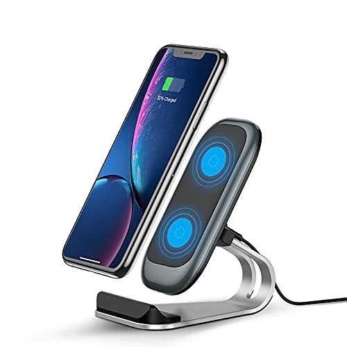 SCCVEE Estación de carga inalámbrica de aleación de aluminio, certificado Qi, 15 W, carga rápida inalámbrica, compatible con Samsung S21/S20 fe/Ultra/Note20, Pixel 5, LG Velvet 5g, Phone12 Pro Max 11