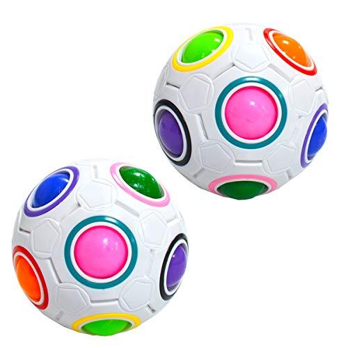 Maomaoyu Magic Rainbow Ball 3D Puzzle Cube Arco Iris Pelota Velocidad Cubo Niños Juguetes Educativos(2PCS)