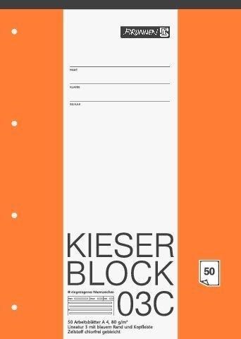 papieto Kieserblock/Schreibblock KIESER (Din A4-50 Blatt / 4-Fach gelocht) LINEATUR FREI WÄHLBAR (Lineatur 03C)