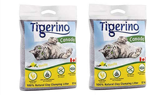 Tigerino Doppelpack Canada Katzenstreu, Vanilleduft 2x12kg