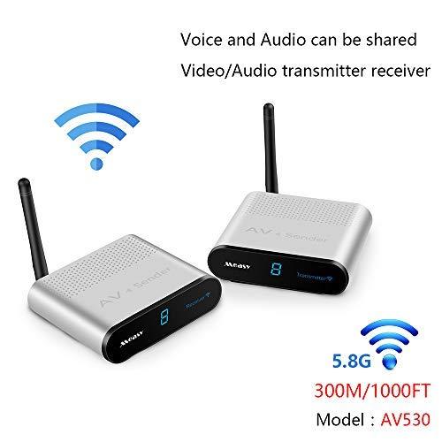 Measy AV530 - Trasmettitore e ricevitore, 5,8 GHz, 8 canali, audio e video wireless 300 m, sender AV, SD, TV