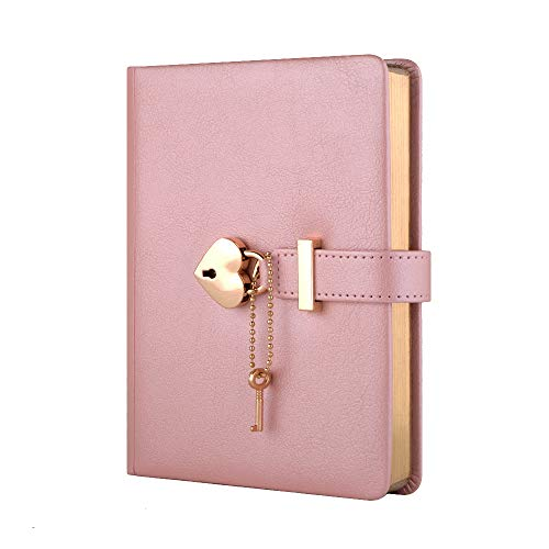 Heart Shaped Combination Lock Diary with Key Off-Color PU Leather Cover Jounal Personal Organizers Secret Notebook Gift for Girls and Women B6 Size 5.3x7 inch Pink