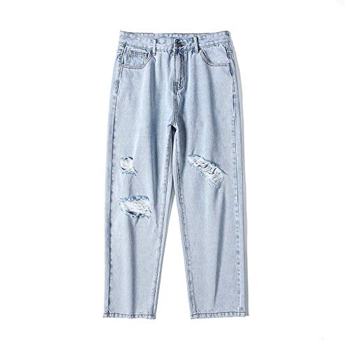 Pantalones Vaqueros para Hombre, Pierna Recta Suelta, Pantalones Vaqueros Rasgados con Personalidad, Pantalones de Mezclilla de Moda Informal de Pierna Ancha a la Moda 27