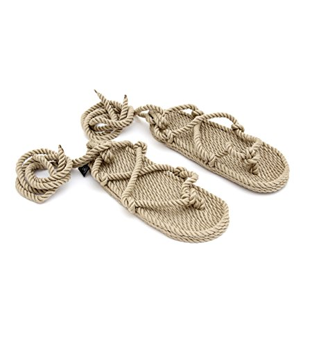 Nomadics Romano Damen Sandale aus Seil Camel, 42