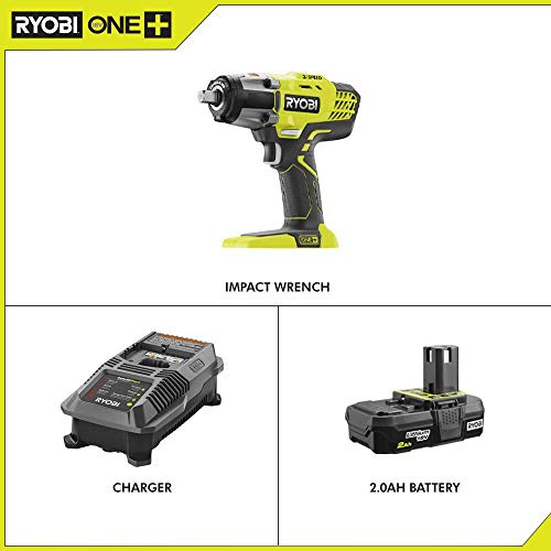 RYOBI P261-P163 18-Volt ONE+ Cordless 3-Speed 1/2 in. Impact Wrench with 2.0 Ah Battery and Charger Kit