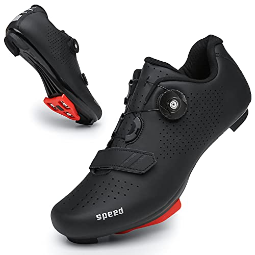 Zapatos de ciclismo para hombres y mujeres Luminosos Road Ciclismo Equitación Zapatos Peloton Zapatos Transpirables Cleat Compatible SPD Look Delta Zapatos de Ciclismo de Interior, Negro216, 42.5 EU