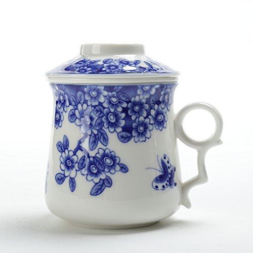 TEANAGOO EM01-2 China Tea-Cup with Filter and Lid, 13.7 OZ, Blossom, Travel Ceramic Steel Strainer, Big Mug Set, Steeping Infuser,Unique Steeper Men Mom Adult