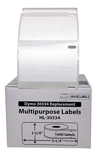 "HouseLabels HL-30334-6FBA 6 Rolls; 1,000 Labels per Roll; DYMO-Compatible-30334 Medium Multipurpose Labels (2-1/4"" x 1-1/4"") - BPA Free!"