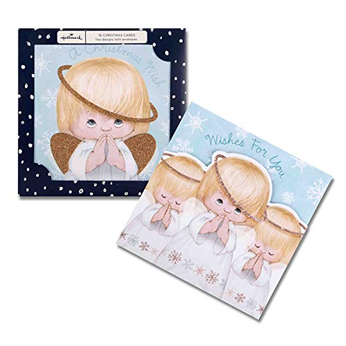 Pack of 16 Christmas Cards Praying Angels Glitter 2 Designs from Hallmark