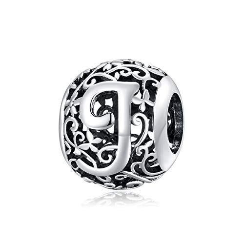 Letter Charm Initial A-Z Alphabet Charm 925 Sterling Silver Charms Dangle Charm for Bracelet Fits European Necklace Compatible Mothers Day Gift With Box (J)