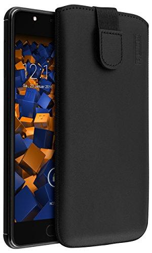 mumbi Echt Ledertasche kompatibel mit Wiko U Feel Prime Hülle Leder Tasche Hülle Wallet, schwarz