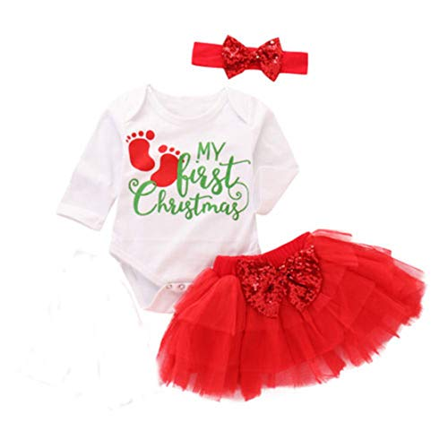 3Pcs Baby Girl Christmas Outfit Set My First Christmas Romper Skirt Tutu Dress Headband (Long Sleeve, 6-12M)