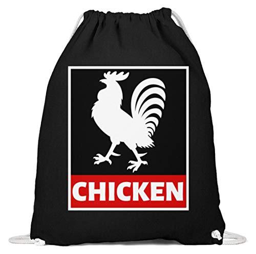 SPIRITSHIRTSHOP Hahn Hähnchen Huhn Chicken - Baumwoll Gymsac -37cm-46cm-Schwarz
