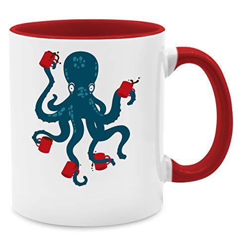 Shirtracer Statement Tasse - Kaffee Octopus - Unisize - Rot - Tasse rot - Q9061 - Kaffee-Tasse inkl. Geschenk-Verpackung