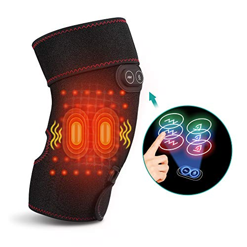 Heated Knee Brace Wrap with Vibration Massage, Knee Heating Pad Support for Knee Injury, Cramps Arthritis Recovery, Heat Knee Massager Brace for Muscles Pain Relief, Fits Men and Women