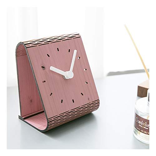 Clock ^Soporte para mesa americana simple para decoración de escritorio, mesa, dormitorio, péndulo silencioso, a rayas verdes para el hogar o al aire libre (color: B)
