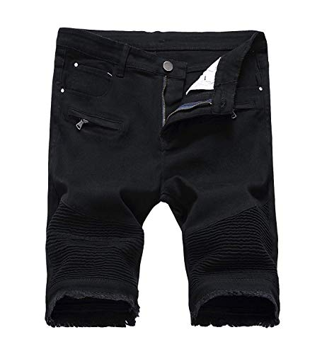 Men's Casual Zipper Biker Jeans Shorts Moto Denim Short Pants,Black,34