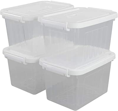 Yarebest 6-pack 6L Clear Storage Latch Box Plastic Bins with Lids