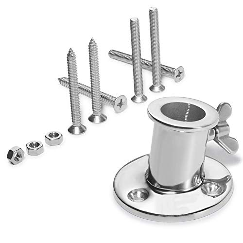 ZOMCHAIN Flag Pole Base Socket Top Mount for flagpole Within 1 inch, All Marine 316 Stainless Steel