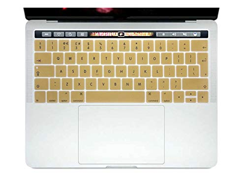 Durable keyboard stickers English EU Silicone Keyboard Cover Skin Protector For Mac NewPro 13' A1706 A2159 Pro 15' A1707 With Touch Bar 2017/2018/2019 Keyboard accessories (Color : Gold)