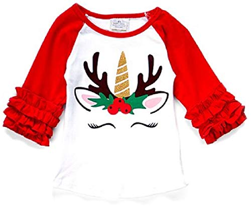 Little Girl Kids Unicorn Christmas Holiday Holiday Shirt Top Tee T-Shirt White Red 7 XXL (318438)