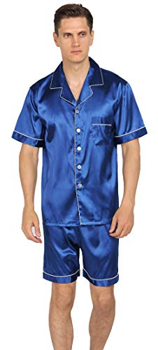 YIMANIE Conjunto de pijama de satén de seda para hombre, manga corta y pantalones cortos, ropa de dormir clásica, Azul / Patchwork, Large