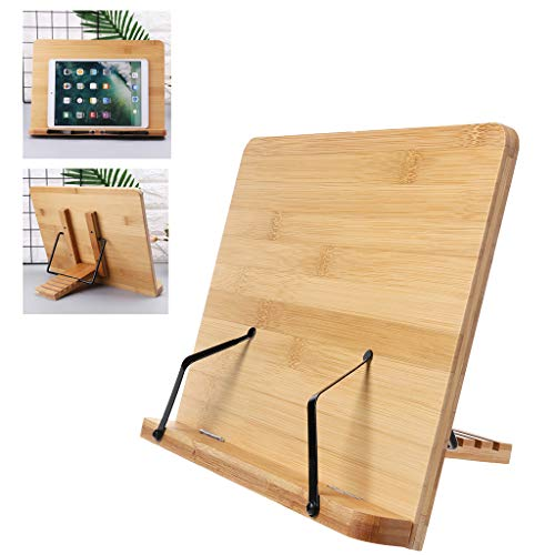 Yajiun Pupitre De Lecture Grand Pliable,Bamboo 33.5x24cm,Applicable Aux Livres Magazines A4 Papier Et I-p-ad