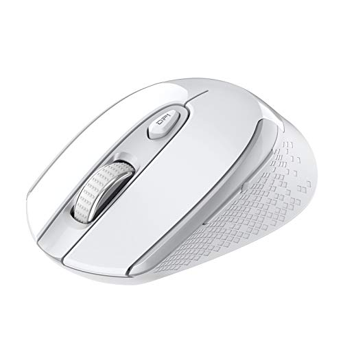 Wireless Computer Mouse, Multifunctional Wireless Mouse, Cimetech 2.4G Slim Cordless Mouse Less Noise for Laptop Ergonomic Optical with USB Mouse for Laptop, Deskbtop, MacBook (White Silver)