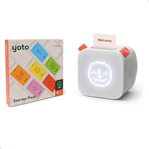 Yoto Player – Kids Audio Player and 6-Card Starter Pack | Speaker Plays Content Cards from Bestselling Audiobooks, Music, Educational Activities & More | Includes Sleep Trainer & Clock All-in-One