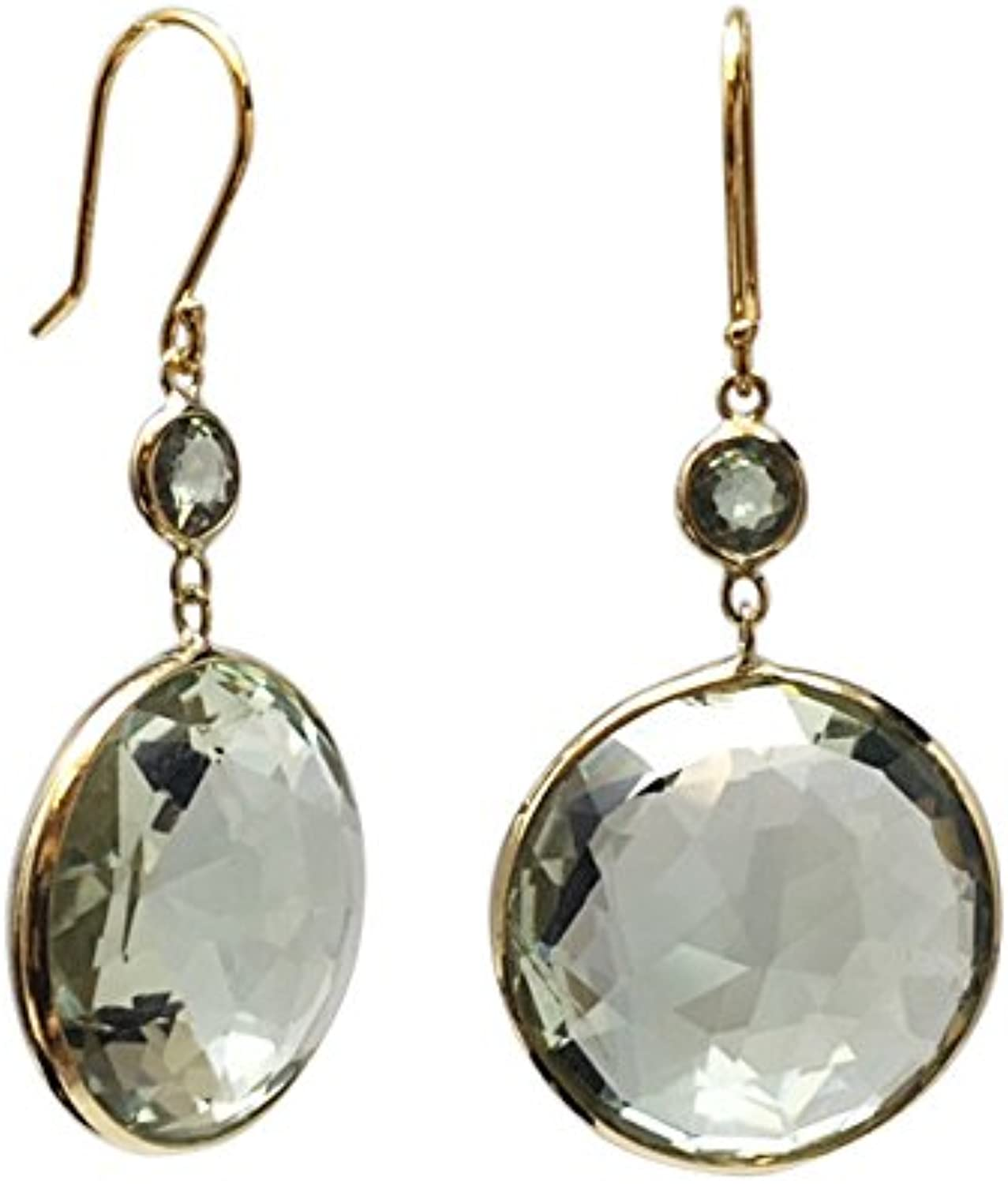 14K Yellow gold Green Amethyst Round 20mm with Round Sapphire 4mm