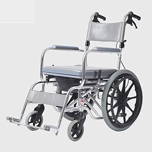 OSL Ligero Plegable Silla de ruedas ajustable Conducción Médica, Baño impermeable Silla de ruedas Multifuncional Discapacitados Ancianos Portátil Ultraligero con carro de inodoro Cómodo O