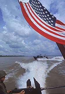 Photo American flag flying US Navy PBR boat is on patrol on the Mekong River. 1967 Vietnam