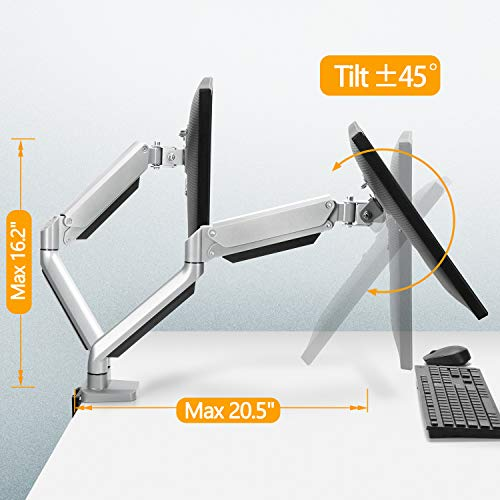 Dual Monitor Mount Stand - Height Adjustable Gas Spring Monitor Desk Mount Swivel VESA Bracket Fit Two 17 t   o 32 Inch Computer Screens with Clamp, Grommet Mounting Base, Each Arm Holds up to 17.6lbs