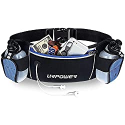 URPOWER running belt, blue color. One main pocket, two water bottle holders. Hydration belt for marathons.