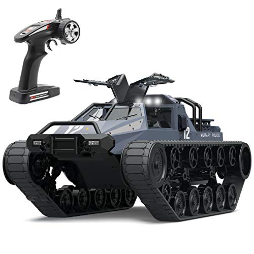 rc tanks Mostop Remote Control Crawler High Speed Tank Off-Road 4WD RC Car 2.4 Ghz RC Army Truck 1/12 Drift Tank RC Tank for Kids Adults