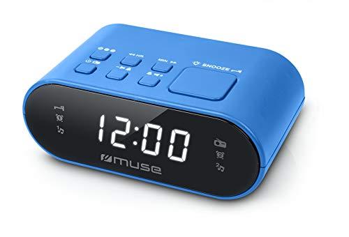 Muse M-10 BL Radiowecker mit LED-Display, zwei Weckzeiten, dimmbar, digitaler UKW-Tuner, 20 Senderspeicher, blau