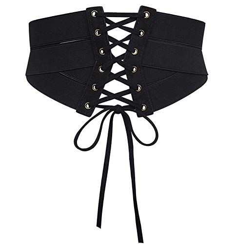 Aecibzo Women's Elastic Stretch Wide Band Waspie Corset Waist Belt (L/Fit Waist 35.5'-39.3', Black)