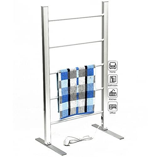 HBBY Radiador Toallero Electrico De Pie - Soporte para Toallas De Baño Independiente con 5 Brazos - Calentador De Toallas Estante De Aluminio - Bajo Consumo(Size:Voltaje de la UE,Color:Silve)