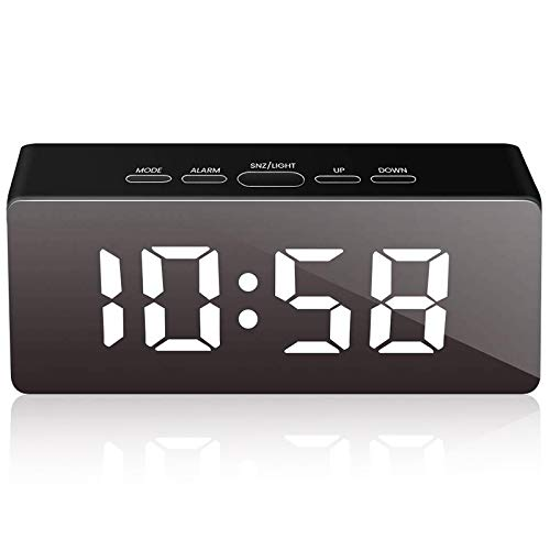ACAMPTAR Despertador Digital,Despertadores para Dormitorios,Despertador LED con FuncióN de Espejo,Carga Puerto USB,Alimentado por BateríA,Posponer,Pantalla de Temperatura,Brillo Ajustable